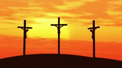 crucifixion at sunset - stock footage