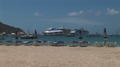 WorldClips-SXM Ships in Port-zoom Stock Footage