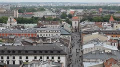 Aerial View of Florianska Street, St. Florian's Gate, Church of St. Florian Stock Footage