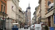 Stock Video Footage of Street View of Florianska Street, St. Mary's Basilica, Old Town, Krakow, Poland