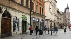 Street View of Florianska Street, St. Mary's Basilica, Old Town, Krakow, Poland Stock Footage