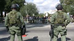 Stock Video Footage of Riot Police face Protesters - Neo-Nazi Rally NSM - Pomona, CA - Nov 5, 2011