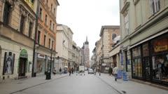 Street View of Florianska Street, St. Mary's Basilica, Old Town, Krakow, Poland Stock Footage