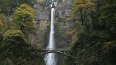Multnomah Falls on Columbia Gorge Stock Footage