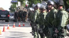 Stock Video Footage of Riot Police deployed heavily - Neo-Nazi Rally NSM - Pomona, CA - Nov 5, 2011