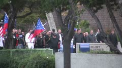 Neo-Nazis March - Neo-Nazi Rally NSM - Pomona, CA - Nov 5, 2011 - stock footage