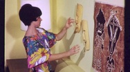 Interior Decorator with Tiki Masks Circa 1965 (Vintage Film Home Movie)1224 Stock Footage