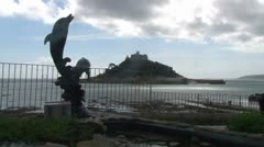 St Michael's Mount from Marazion Stock Footage