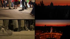 Rome sunset with romantic people - Composition Stock Footage