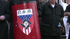 Neo-Nazi shield - Neo-Nazi Rally NSM - Pomona, CA - Nov 5, 2011 - stock footage