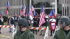 Stock Video Footage of Riot Police and Neo-Nazis - Neo-Nazi Rally NSM - Pomona, CA - Nov 5, 2011