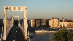 HD Aerial View of Budapest, Danube River, Elizabeth Bridge, Car Traffic, Boat Stock Footage