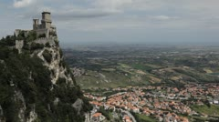 HD Aerial View of San Marino, Guaita Tower, Morning Fog, Castle, Old Town Hall - stock footage