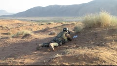 Soldier getting in position(HD) C - stock footage