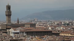 Aerial View of Florence, Italy, The Palazzo Vecchio, Old Palace, Tuscany Stock Footage
