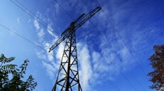 electrical pylon. timelapse clouds. - stock footage