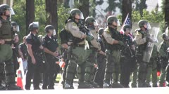 Riot Police Heavily Deployed - Neo-Nazi Rally NSM - Pomona, CA - Nov 5, 2011 - stock footage