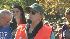 Nobel Peace Prize winner Jody Williams at Keystone XL pipeline protest in D.C. Stock Footage