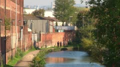 Canal and Industrial Factory Stock Footage
