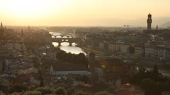 Aerial View of Florence, Italy, Florence Cathedral, Palazzo Vecchio, Ponte Stock Footage
