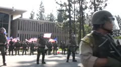 Riot Police Deployed Track - Neo-Nazi Rally NSM - Pomona, CA - Nov 5, 2011 - stock footage