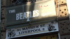 The Beatles Shop in Liverpool Stock Footage