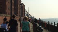 River Mersey Walkway Stock Footage