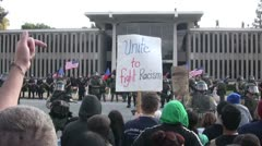 Unite to fight Racism - Neo-Nazi Rally NSM - Pomona, CA - Nov 5, 2011 - stock footage