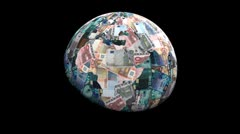 Stock Video Footage of Global currency euros replacing land animation