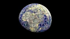 Stock Video Footage of Global currency dollars replacing land animation