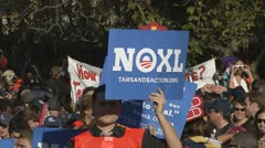Keystone XL pipline protest at White House - stock footage