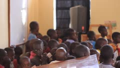 African children in front of a classroom Stock Footage