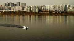 Boat on the Han river in Seoul Stock Footage