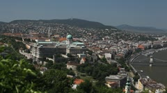 HD Aerial View of Budapest, Buda Castle (Budavari Palota), Royal Palace Stock Footage