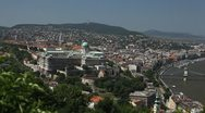 Stock Video Footage of HD Aerial View of Budapest, Buda Castle (Budavari Palota), Royal Palace