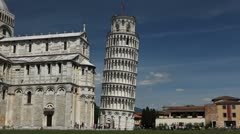 Stock Video Footage of Time Lapse of Leaning Tower in Pisa, Tuscany, Italy, Tourists Attraction