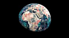 Stock Video Footage of Global currency Yuan replacing land animation