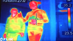 Walking. Thermoinfrared. Stock Footage