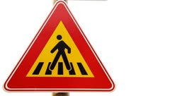 Traffic sign for pedestrian crossing Stock Footage