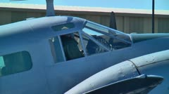 Pilot and copilot in vintage war plane Stock Footage