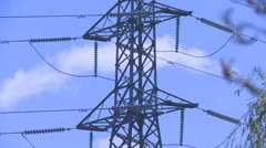 Power pylon fast zoom out Stock Footage