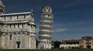 Time Lapse of Leaning Tower in Pisa, Tuscany, Italy, Tourists Attraction Stock Footage