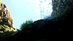 Waterfall into lens Stock Footage