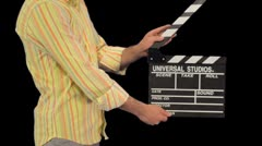 Clapboard with alpha matte Stock Footage