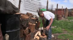 Mongolia: Boy Chops Firewood Stock Footage