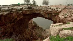 Adamit Park Cave Arch in Israel. Stock Footage