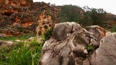 Rocky, yet green mountainside in Israel. Stock Footage