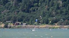 MVI 0024-Wide static shot of kiteboarders Stock Footage