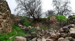 Ruined walls at Bar'am in Israel. Stock Footage