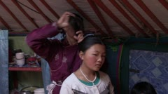 Mongolia: Getting Hair Done Stock Footage